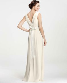 Ann taylor collection perfect for second wedding dresses second petite goddess v neck wedding dress ann taylor junglespirit Images
