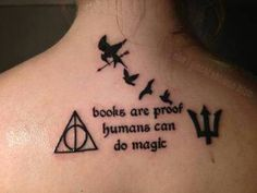 Harry Potter, Hunger Games, Percy Jackson, and Divergent. love it! make the birds Peter and the Darlings instead, and make the trident thingy into a rose...then its HP, HG, Peter Pan, and Secret Garden!