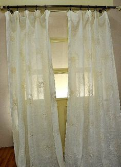 "Sun Flower embroidered on Linen sheer curtain (52""W X 96""L) by D&D. $81.00. The 100% linen sheer is yellowish Ivory.. The back tabs & rod pocket is 3.5"" wide.. The sheer curtain is bottom weighed.. The fine Linen sheer curtain is 100% natural linen,which is organic and biodegradable. The sun flower design is embroidered on it. The color is yellowish ivory. The sheer panel is provided both with rod pocket as well as back tabs in order to give cartridge pleats. The she..."