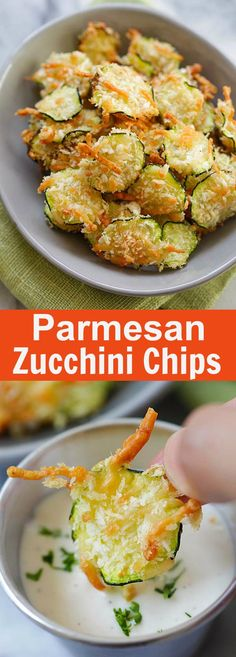 Five Approaches To Economize Transforming Your Kitchen Area Parmesan Zucchini Chips - Crispy Zucchini Chips Coated With Parmesan Cheese And Bread Crumbs. So Healthy And Low In Calories Parmesan Zucchini Chips, Zucchini Chips Recipe, Zuchinni Chips, Recipes With Zucchini, Squash Chips, Veggie Dishes, Vegetable Recipes, Vegetarian Recipes, Cooking Recipes