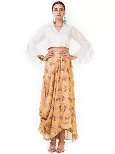 3efb80e31f Printed Off White And Gamboge Yellow Draped Skirt And Crop Top with White  Bell Sleeves