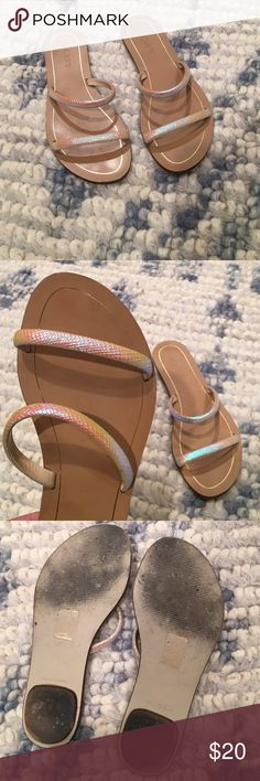 Jcrew iridescent slides darling iridescent slides from J Crew. Worn once! they go with everything! J. Crew Shoes Sandals
