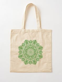 Green Mandala Pattern - Just Let Go Tote Bag Mandala Pattern, Mandala Art, Cotton Tote Bags, Reusable Tote Bags, Tote Pattern, Letting Go, Totes, Finding Yourself, Let It Be