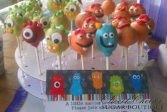 Jackson's little monster baby shower cake pops