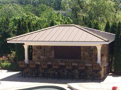 Campbell Exteriors LLC  Metal standing seam for poolside bar