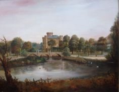 A view of Eglinton Castle, Kilwinning, North Ayrshire, Scotland. Circa 1830s. Artwork credited to John Fleming. Source 	www.welshart.co.uk