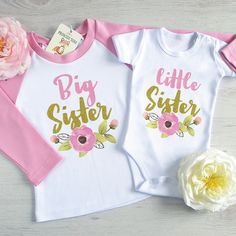 Big Sister Little Sister Matching Outfit. Big Sister And Little Sister Shirts. New Baby Announcement Big Sister Little Sister, Baby Sister, Little Sisters, Sibling Shirts, Sister Shirts, Shirts For Girls, Matching Sister Outfits, New Baby Announcements, Baby Boy Outfits