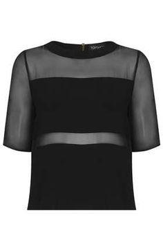 T-shirt à empiècements en mousseline - T-shirts  - Tops  - Vêtements