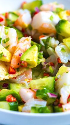 and Easy Shrimp Ceviche - How to make fresh, healthy, and delicious shrimp ceviche at home! -Fresh and Easy Shrimp Ceviche - How to make fresh, healthy, and delicious shrimp ceviche at home! Best Seafood Recipes, Mexican Food Recipes, Ethnic Recipes, Clean Eating Snacks, Healthy Eating, Healthy Cooking, Healthy Food, Seafood Dishes, Seafood Meals