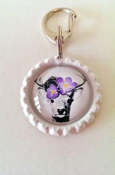 Schlüsselanhänger Kronkorken *Hirsch* - ein Designerstück handmade von Happy_Crowns bei DaWanda