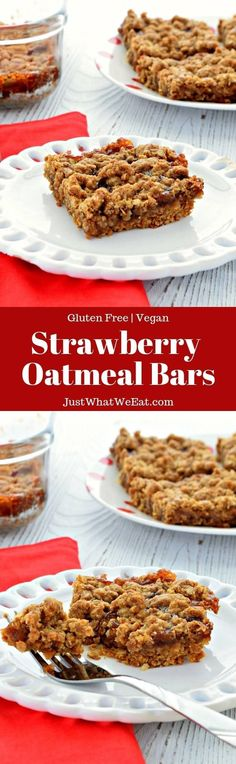 These Strawberry Oatmeal Bars are such a delicious gluten free and vegan dessert! They are so easy to make and come together in 30 minutes! Vegan Dessert Recipes, Vegan Breakfast Recipes, Real Food Recipes, Baking Recipes, Snack Recipes, Bar Recipes, Brunch Recipes, Healthy Recipes, Easy Desserts
