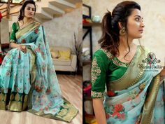 Ideas For Embroidery Dress Diy Sweets Sari Blouse Designs, Designer Blouse Patterns, Bridal Blouse Designs, Floral Print Sarees, Saree Floral, Indian Beauty Saree, Indian Sarees, Organza Saree, Cotton Saree