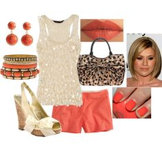 Coral (my fav Summer color!!) and Cream...I'd trade out the shorts for a cute skirt or capris though ;)