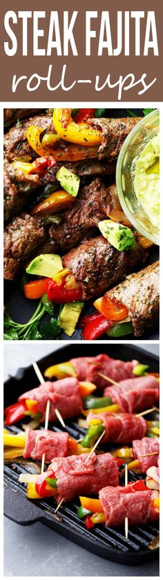Steak Fajita Roll-Ups - Ditch the flour tortillas and make this amazing low-carb version of your favorite steak fajitas! Steak Fajita Roll-Ups - Ditch the flour tortillas and make this amazing low-carb version of your favorite steak fajitas! Meat Recipes, Paleo Recipes, Mexican Food Recipes, Low Carb Recipes, Cooking Recipes, Recipes Dinner, Chicken Recipes, Recipies, Dinner Ideas