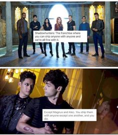 TRUE !!! >>>I ship them so much, but I  HATE how it's The Mortal Instruments to Shadowhunters. It's just not right to me...