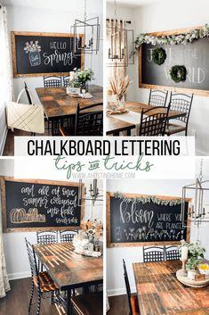 Framed Chalkboard Walls, Chalkboard Wall Kitchen, Make A Chalkboard, Chalk Wall, Chalkboard Lettering, Chalkboard Ideas, Chalk Board, Hand Lettering, Crayola Chalk