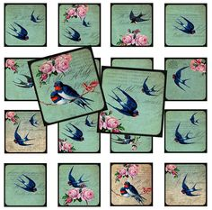 Swallow in 1 inch squares  for Pendant,ScrapBooking,Collage -Printable Collages Download
