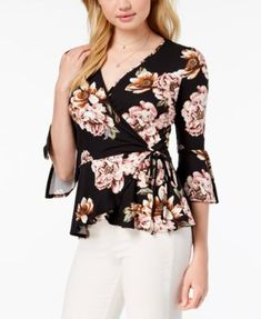Floral Tops, Floral Prints, Bell Sleeves, Bell Sleeve Top, Couture Tops, Print Wrap, Different Styles, Dress Skirt, Winter Fashion