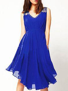 Elegant Sleeveless V Neck Blue Knee Length Dress