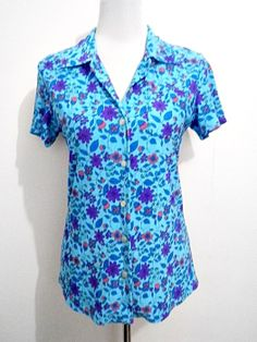 Spring Fashion from the 1950s, 1960s & 1970s: SALE blue floral top by VintageHomage on Etsy, $10.00
