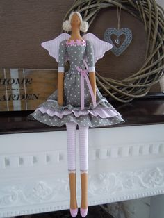 Sivoružová… Hobbies And Crafts, Diy And Crafts, Doll Home, Angel Crafts, Sewing Dolls, Little Doll, Doll Clothes Patterns, Christmas Angels, Fabric Dolls