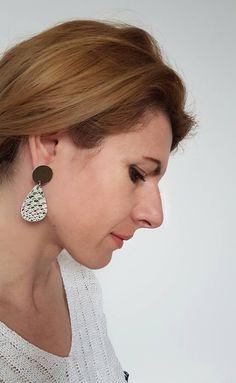Leather Earrings, Statement Jewelry, Mermaid Style Metallic Silver, Teardrop Modern Earrings, Big Funky Earrings, Bold Contemporary Jewelry