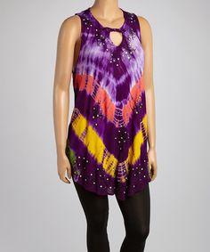 Loving this Purple & Yellow Tie-Dye Chevron Sleeveless Tunic - Plus on #zulily! #zulilyfinds