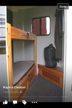 Bed in a horse trailer tack room!! I could use this!!!!