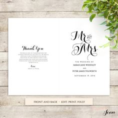 Catholic Wedding Program Template Without Mass  Wedding For