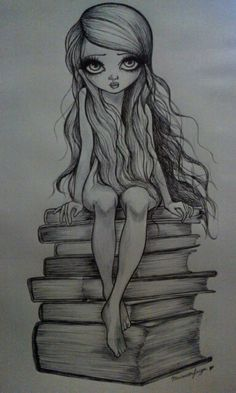 Image about books in dibujos ✏ by underthemxxn Fairy Drawings, Pencil Art Drawings, Art Drawings Sketches, Drawing Faces, Cute Drawings, Illustration Art Dessin, Videos Kawaii, Pintura Country, Sketch Painting