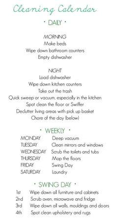 Desperately Seeking a Cleaning Schedule