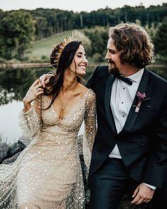 A Moody, Gothic-Inspired Wedding in a Vermont Birch Grove - Heiraten Wedding Bells, Boho Wedding, Dream Wedding, Gold Wedding Dresses, Grunge Wedding, Unusual Wedding Dresses, Unconventional Wedding Dress, Wedding Boudoir, Nontraditional Wedding