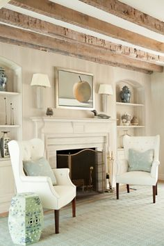 exposed beams, neutrals with soft greens, blue and white accents... soothing and lovely