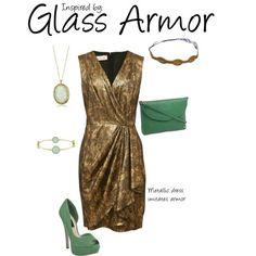 Glass Armor (Elder Scrolls V: Skyrim) by ladysnip3r featuring a mini clutch This outfit is inspired by the glass armour set of Elder Scrolls V: Skyrim.