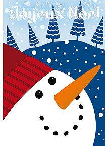Carte avec la tête d'un bonhomme de neige qui sourit, à imprimer