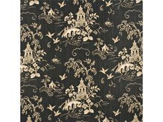 Lee Jofa Kravet Chinoiserie Asian Pagodas Linen Toile Fabric 10 Yards Black Gold | eBay