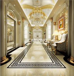 Description Design Story: This pattern gives the fullness of space on the floor. Home Room Design, Home Interior Design, Interior Decorating, House Design, Versace Tiles, Hall Flooring, Corridor Design, Modern Villa Design, Mansion Interior