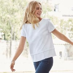 The White Company | Fringed Top. Made for us using European cloth, this cotton-rich top will add a chic, modern feel to Spring outfits. Shopping from the UK -> http://www.thewhitecompany.com/Fringed-Top/p/FCCTP?swatch=White