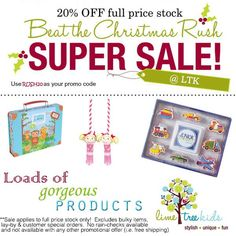 Get a head start on Christmas shopping with this AWESOME 20% off sale at Lime Tree Kids.. Use RUSH20 as your promo code. Stress-free shopping AND savings too!! #Christmas #savebig