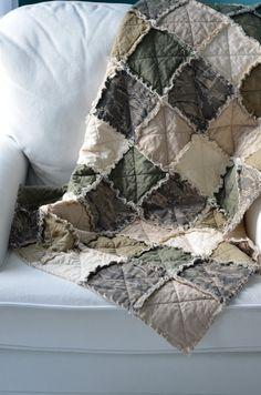 ABU, ACU Military Crib Rag Quilt - Can Be Customized, for baby or toddler, green, tan, camo, Air Force, Army, uniform, photo prop. $130.00, via Etsy.