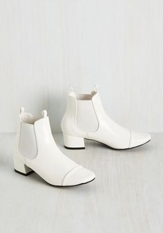 Get Up and Go-Go Bootie in White - White, Solid, Party, Vintage Inspired, 60s, Statement, Spring, Better, Chunky heel, Ankle, Variation, White, White
