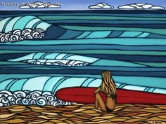 Love this kind of surfer girl art.