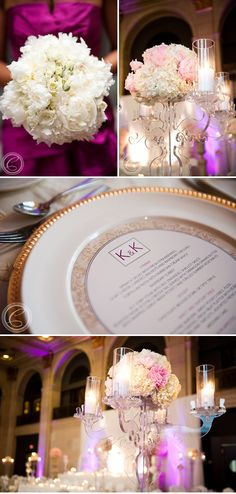 Love the round menu card that fits onto the plate. Have you ever been to a buffet wedding and were afraid to take things because there might be something better at the other end?