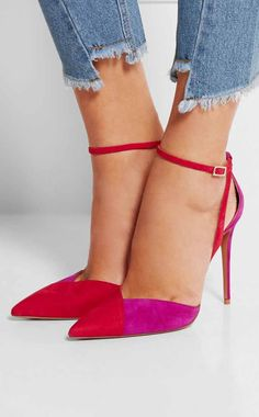 Zelda two-tone suede pumps
