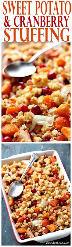 Sweet Potato and Cranberry Stuffing - Festive and delicious stuffing made with a mixture of sweet potatoes, fresh cranberries, carrots, onions, and bread cubes.