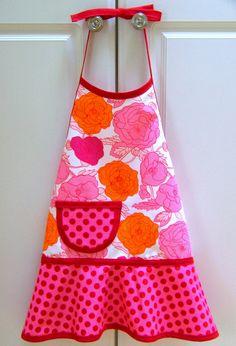 APRON Girls Child Children's Kids Toddler  -  Orange and Pink Mod Floral. $20.00, via Etsy.