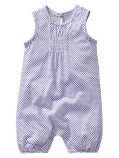 Polka dot smocked one-piece