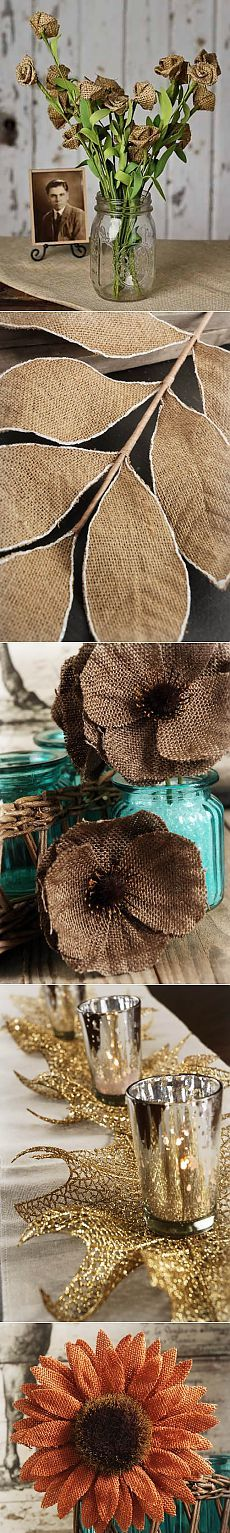 Favorite burlap.  Flowers and birds.  Ideas for inspiration.