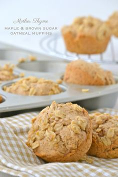 Maple and Brown Sugar Oatmeal Muffins (dairy free, egg free) | www.motherthyme.com