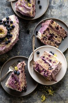 Bursting Blueberry Lemon Layer Cake: 3 layers of light and fluffy lemon cake swirled with a mix of fresh blueberries and blueberry jam. Just Desserts, Delicious Desserts, Yummy Food, Baking Recipes, Cake Recipes, Dessert Recipes, Dinner Recipes, Desserts Panna Cotta, Lemon Layer Cakes